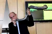 Rene Hochreiter Blowing the Kudu Horn at the Listing of Sable Platinum